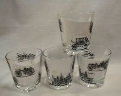 Vintage Rock Glasses Tumblers Water Drinking Low High Ball 70s Cars Train Buggy