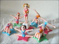 Edible Fondant Gymnastics Cupcake/Cake Toppers By LikeButter Gymnastics Cakes, Gymnastics Birthday, Gymnastics Suits, Gymnastics Girls, Fondant Cake Toppers, Fondant Figures, Cupcake Cakes, Chocolate Diy, Sport Cakes