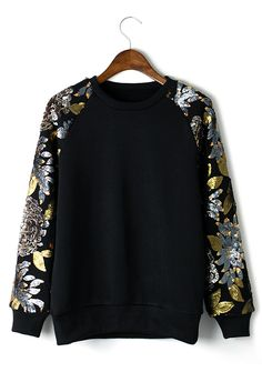 Sequins Floral Leaf Sleeves Epic Top Sweater - Long Sleeve - Tops - Retro, Indie and Unique Fashion