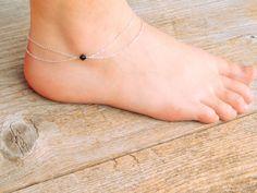 Bracelet de cheville, double couche chaine swarovski de cheville, cheville cristal swarovski, bracelet de cheville cristal, bracelet de cheville perle swarovski, bracelet de cheville 027 en argent