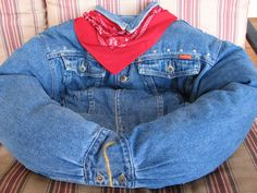 upcycled denim jacket pet bed The Denim Hug by aprilsniche on Etsy, $59.99
