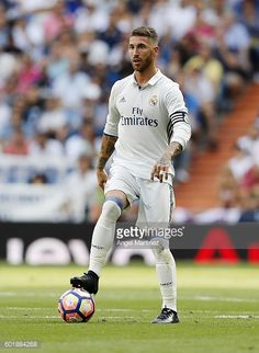 Sergio Ramos of Real Madrid in action during the La Liga match between Real Madrid CF and CA Osasuna at Estadio Santiago Bernabeu on September 10...