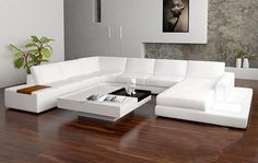 Sectional Contemporary Sofa | Tosh Furniture Modern Bonded Leather Sectional  Sofa With Light   White .