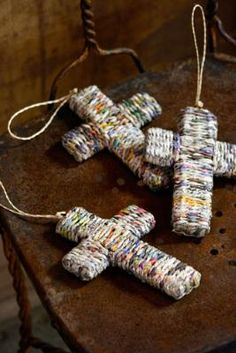 these are cool.....recycled newspaper cross