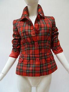 Dolce Gabbana Red Tartan Plaid Wool Blazer Jacket
