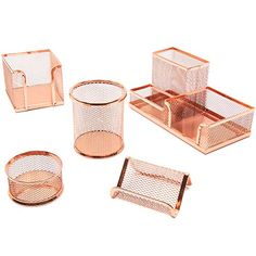 Shop for 5 Piece Rose Gold Mesh Desk Organizer Office Supplies Accessories Décor Set. Get free delivery On EVERYTHING* Overstock - Your Online Desk Accessories Destination! Rose Gold Room Decor, Rose Gold Rooms, Gold Bedroom Decor, Room Ideas Bedroom, Study Room Decor, Cute Room Decor, Work Desk Decor, Teen Room Decor, Gold Office Decor