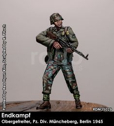 Obergrenadier in 1945 Berlin, now available at highcalibreminiatures.com! Click on the pic for more from Rado Miniatures German Uniforms, Rado, Ww2, Berlin, Miniatures, Fictional Characters, Dioramas, Fantasy Characters, Minis