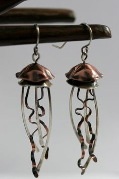 Mixed Metal Jellyfish Earrings Long Copper and by AmorphicMetals, $60.00
