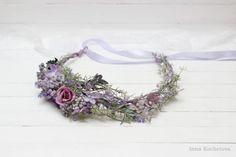 Lilac lavender flower crown Flower hair wreath by ByKochetova