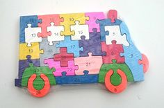 Wooden jigsaw/puzzle bus with numbers and letters,colorful educational toy | eBay