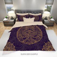 Mandala Bedding, Purple Mandala Bedding, Mandala Duvet Cover, Mandala Duvet Set, Hamsa Bedding, Boho Bedding, Boho Duvet Cover