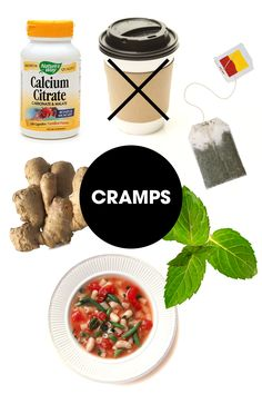 """Cramps are essentially muscle spasms, so soothing and relaxing those muscles is key to finding relief. Sadly there isn't a lot that can be done through diet alone, but just like a heating pad can be hugely helpful, heating your body from the inside out can make a difference. Start with a mug of hot mint tea, since mint also has an antispasmodic effect on muscles and has been shown to soothe cramps, advises James. She also recommends a simple, nourishing bowl of warm soup—""""it may be…"""