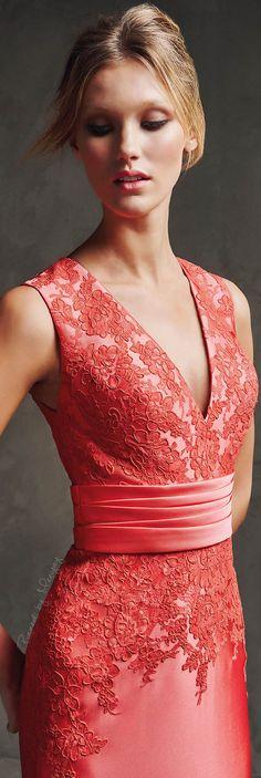 Pronovias 2016 coral dress gown women fashion outfit clothing style apparel @roressclothes closet ideas