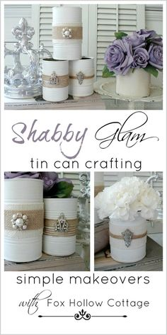 Crafting with Tin Cans | #upcycle #repurpose #tincan; upcycled wedding, simple wedding flowers, keep cost of decorating down, flowers in tin cans, simple elegant, shabby chic flowers, table flowers, recycled wedding, wedding on a budget, cheap wedding decorations: