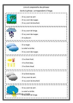 french vocabulary weather worksheet exercice for introducing basic weather french activity sheet. Black Bedroom Furniture Sets. Home Design Ideas