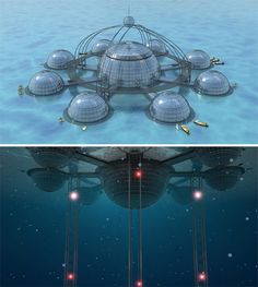 Underwater Living: Self-Sustainable Submerged Biosphere Futuristic City, Futuristic Technology, Futuristic Design, Futuristic Architecture, Architecture Plan, Minecraft Underwater, Underwater City, Underwater Photos, Underwater Photography