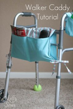 """Melissa from Melly Sews shares a lovely walker caddy that's easy to make and can be easily adapted to other types of """"walkers"""" like strollers. -Sewtorial"""