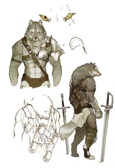 Blemished Grau by koutanagamori on DeviantArt Character Creation, Character Concept, Character Art, Concept Art, Furry Wolf, Furry Art, Dnd Characters, Fantasy Characters, Wolf Warriors