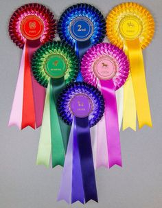Supreme Personalized Three Tier Rosettes 5 Min Crafts, Arts And Crafts, Horse Ribbons, Teachers Day Card, Ribbon Rosettes, Leis, Ribbon Crafts, Dog Mom, Badges