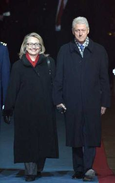 Former president Bill Clinton and the current US Secretary of State Hillary Clinton on January 21, 2013