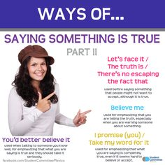' Saying something is true II ' WAYS OF ... Repinned by Chesapeake College Adult Ed. We offer free classes on the Eastern Shore of MD to help you earn your GED - H.S. Diploma or Learn English (ESL) . For GED classes contact Danielle Thomas 410-829-6043 dthomas@chesapeke.edu For ESL classes contact Karen Luceti - 410-443-1163 Kluceti@chesapeake.edu . www.chesapeake.edu