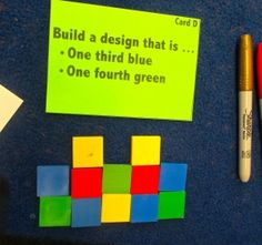 A green card over a colorful tile mosaic instructs a person to build a design.