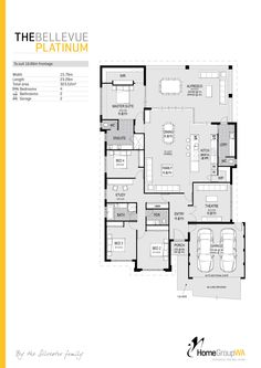The Bellevue Platinum display home floor plan. Only available at Home Group WA. New House Plans, Dream House Plans, Small House Plans, House Floor Plans, My Dream Home, Building Design, Building A House, Floor Design, House Design