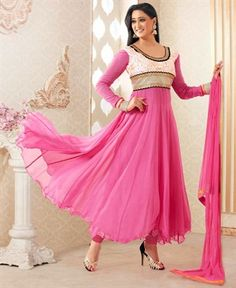 Mesmerizing Pink Anarkali Salwar Kameez [ADF28260] $74.88 - Buy fashion wear online, Buy Indian wear Online by A1designerwear.com