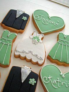Darling wedding cookies.