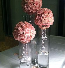 Seattle wedding florist | Pink garden rose kissing ball centerpiece with dripping crystals