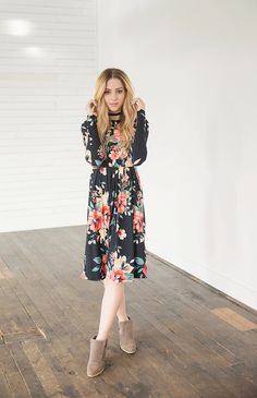 3d9e3e3a9d Paris Floral Midi Dress Bella Ella Boutique Online Store