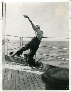 Madame Rambert warming up on deck en route to Australia