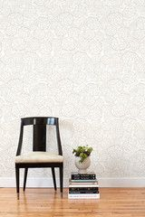 Removable wallpaper tile - ideal for renters! Hygge & West | Petal Pusher (Taupe/White) Tile
