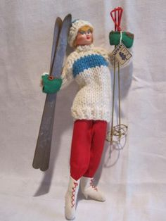 1950s LAYNA Spain cloth doll Skier w/ sweater + skis & poles+ orig LAYNA tag!