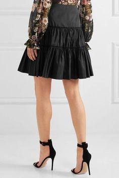 Giambattista Valli - Gathered Silk-taffeta Mini Skirt - Black - IT38