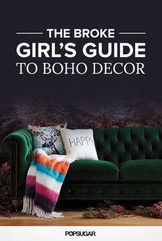 Affordable boho decor | Tufted velvet sofa