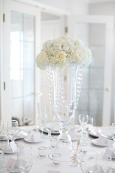 Tall Formal Centerpiece in White with Crystal Strands