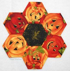 Halloween fussy cut hexie at Stray Stitches