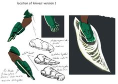 the art of kevin nelson: wasabi's glove design in earlier form Ninja Weapons, Anime Weapons, Sci Fi Weapons, Armor Concept, Weapon Concept Art, Fantasy Weapons, Wasabi Big Hero 6, Character Art, Character Design