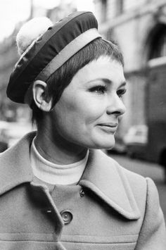 Award winning British actress Judi Dench (born 1934) one of the greatest actors of the post-war period, pictured wearing a fashionable Christian Dior designed beret.