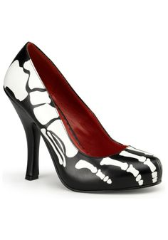 Featuring 4 1/2-inch heels, an X-ray skeleton print and a blood-red interior, these leather shoes are just what you need to complete your costume. Description from target.com. I searched for this on bing.com/images