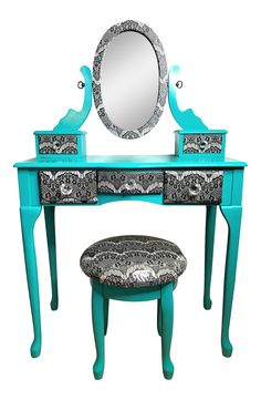 Turquoise & Lace Vanity With Stool - A Pair on Chairish.com