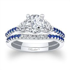 Blue Sapphire Engagement Ring 7539SBSW