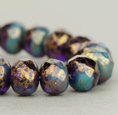 Czech Glass Rondelle Beads - Turquoise and Tanzanite Purple Mix Opaque and Transparent with Antiqued Gold Finish - 7x5mm - 25 Beads @SolanaKaiBeads on Etsy #BeadStore #Beads #Rondelles #SolanaKaiBeads
