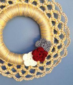 LOVE the colors!! - Autumn Harvest Crochet Wreath