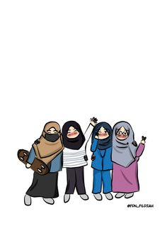 Sahabat dunia akhirat. Art @fdn_fildzah Muslim Girls, Muslim Women, Cartoon Kids, Cartoon Art, Hijab Drawing, Islamic Cartoon, Anime Muslim, Hijab Cartoon, Islamic Girl
