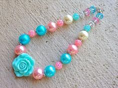 Aqua, Pink and Ivory Chunky Necklace