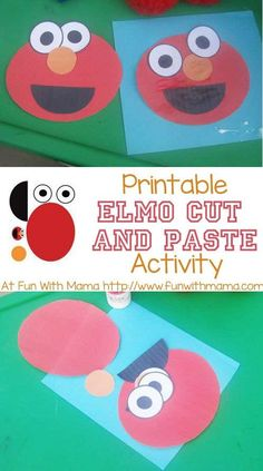 Here is a printable elmo cut and paste activity that is wonderful for toddlers and preschoolers. Kids can place Elmos eyes, mouth and nose in their place. This is a wonderful visual perception activity! Sesame Street lovers will really enjoy this one. Toddler Art, Toddler Preschool, Toddler Crafts, Toddler Activities, Preschool Arts And Crafts, Daycare Crafts, Preschool Activities, Sesame Street Crafts, Visual Perception Activities