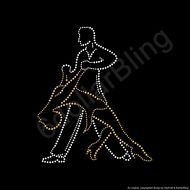 "RHINESTONE IRON ON TRANSFER ""Ballroom Dancer Dip"" - Crystal Bling Dancing"