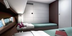Modern boat with elegant bedroom interior
